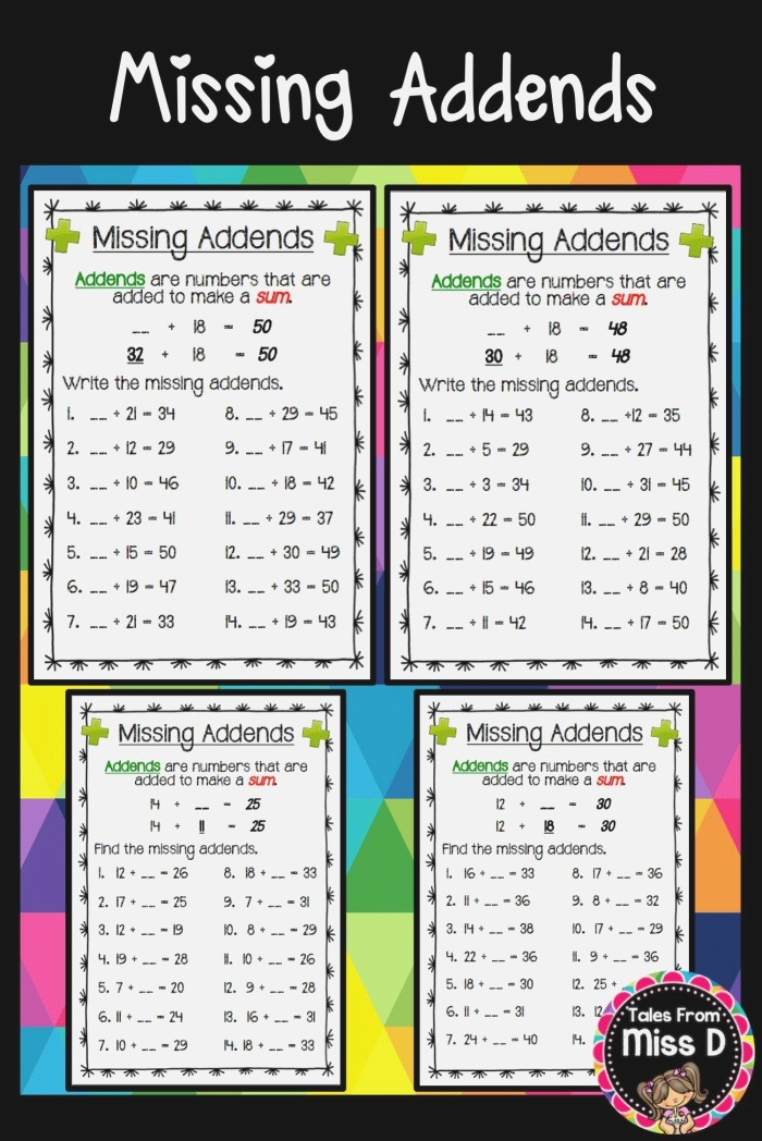 these Missing Addends Worksheets Gives Students Practice