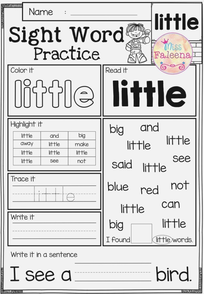 these Sight Word Practice Pages are Great for Kindergarten