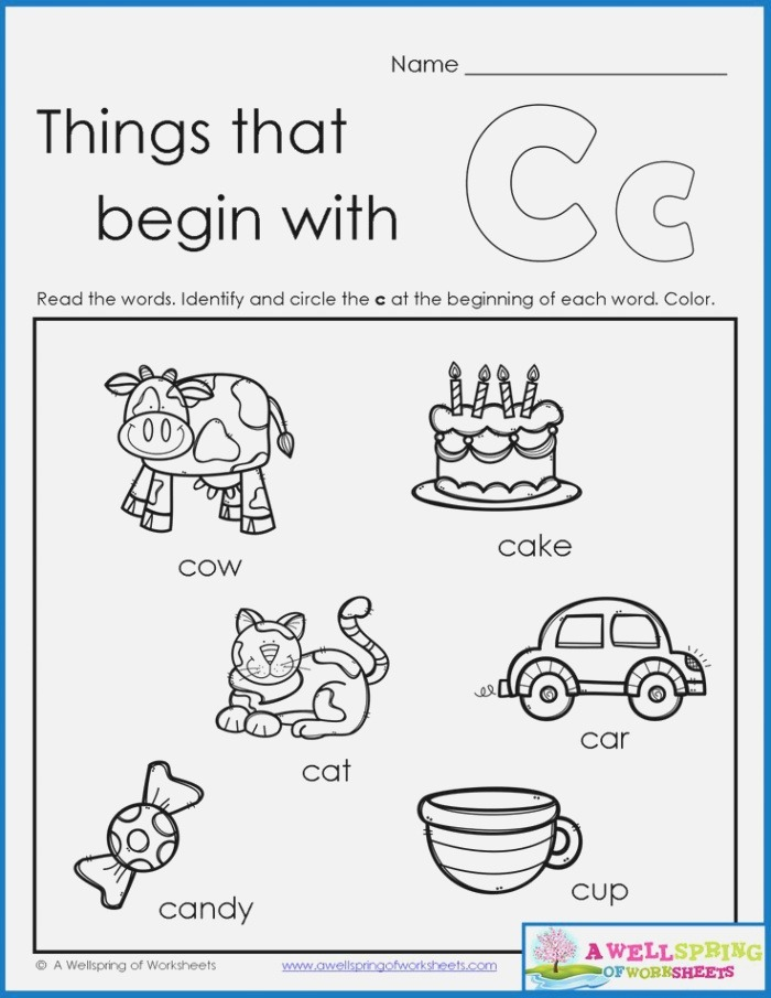 Things that Begin with A Z Worksheets Kindergarten