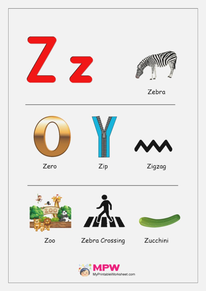 Things that Start with Z Worksheets