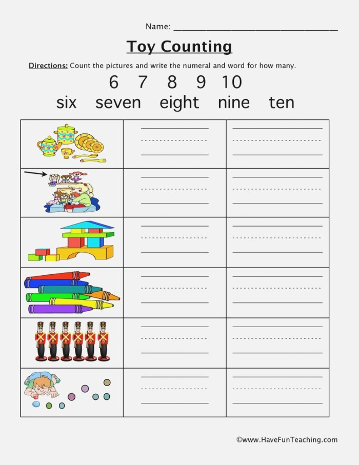 toy Counting 6 10 Worksheet