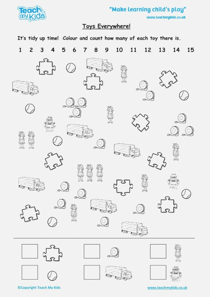 toy Time Counting Worksheets