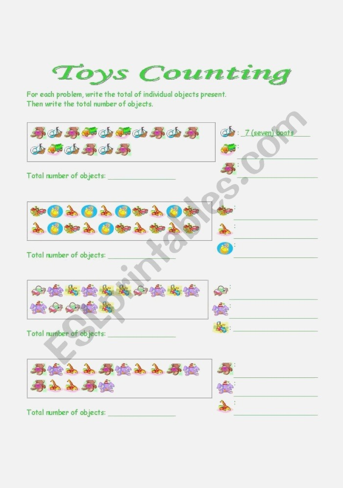 toys Counting Esl Worksheet by Bamarcia