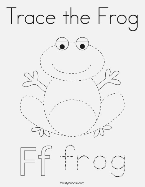 Trace the Frog Coloring Page Twisty Noodle