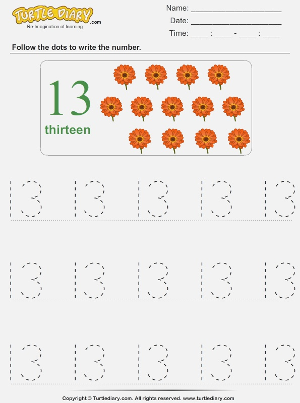 Trace the Number Thirteen Worksheet Turtle Diary