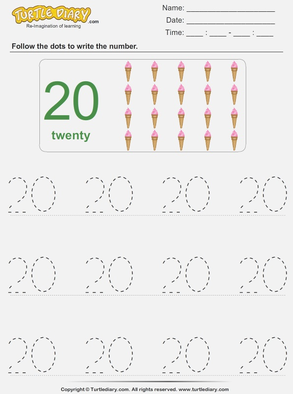 Trace the Number Twenty Worksheet Turtle Diary