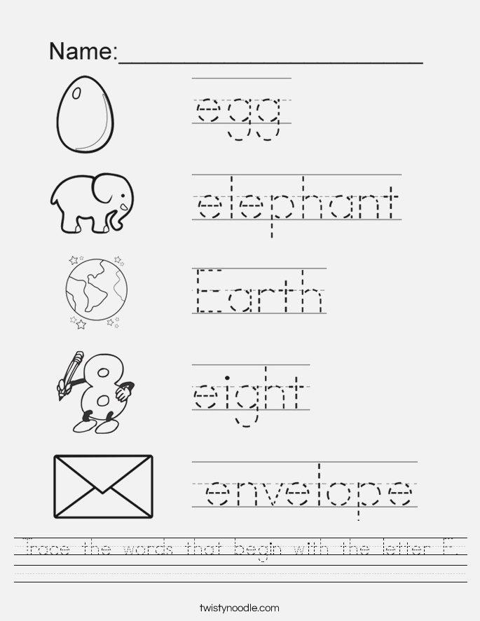 Trace the Words that Begin with the Letter E Worksheet