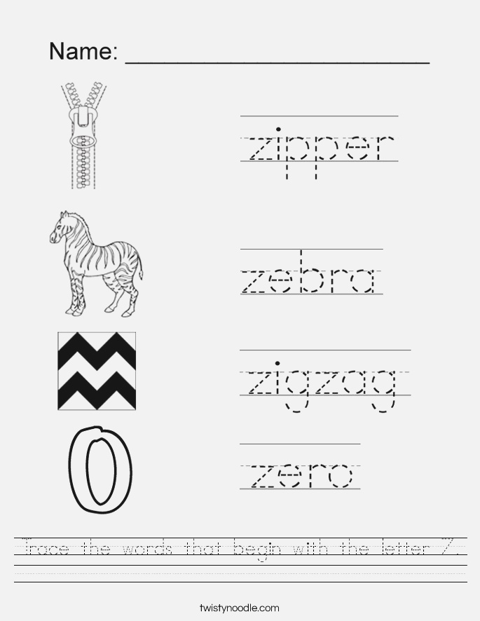 Trace the Words that Begin with the Letter Z Worksheet