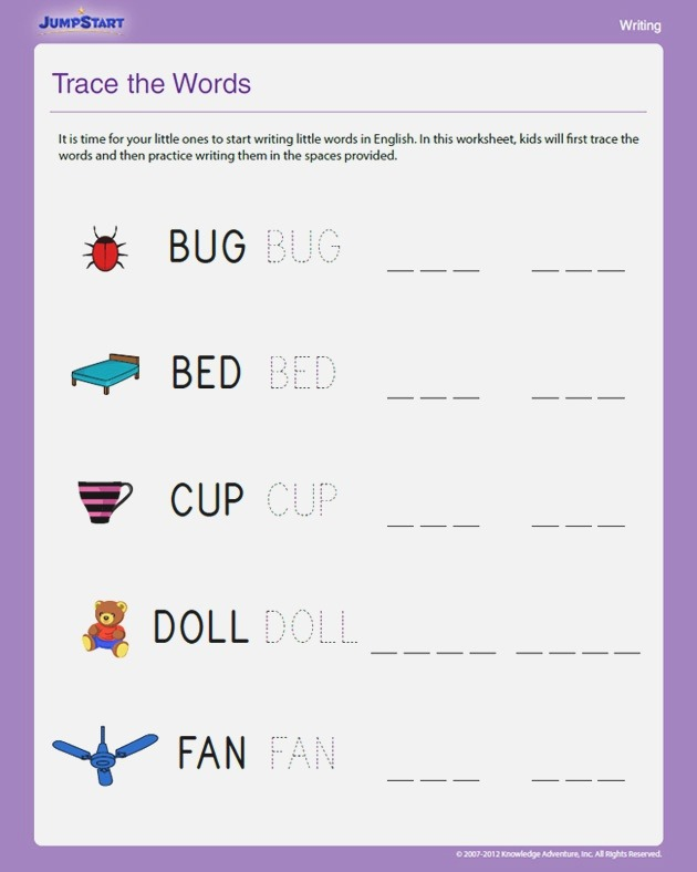 Trace the Words View Free Writing Worksheet for Kindergarten