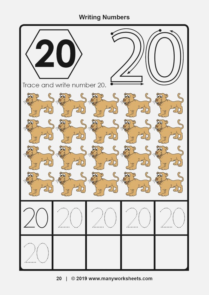 Tracing and Writing Number 20 Worksheet