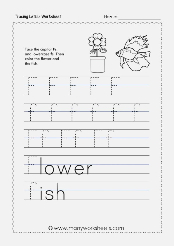 Tracing Letter F Worksheets for Preschool