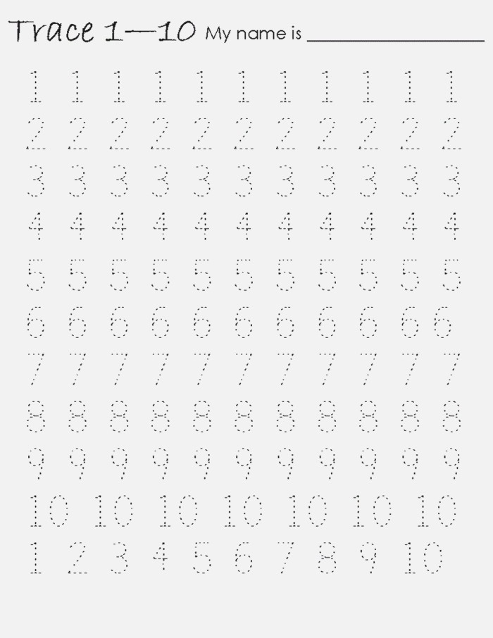 Tracing Numbers 1 10 Worksheet Activity – Learning Printable
