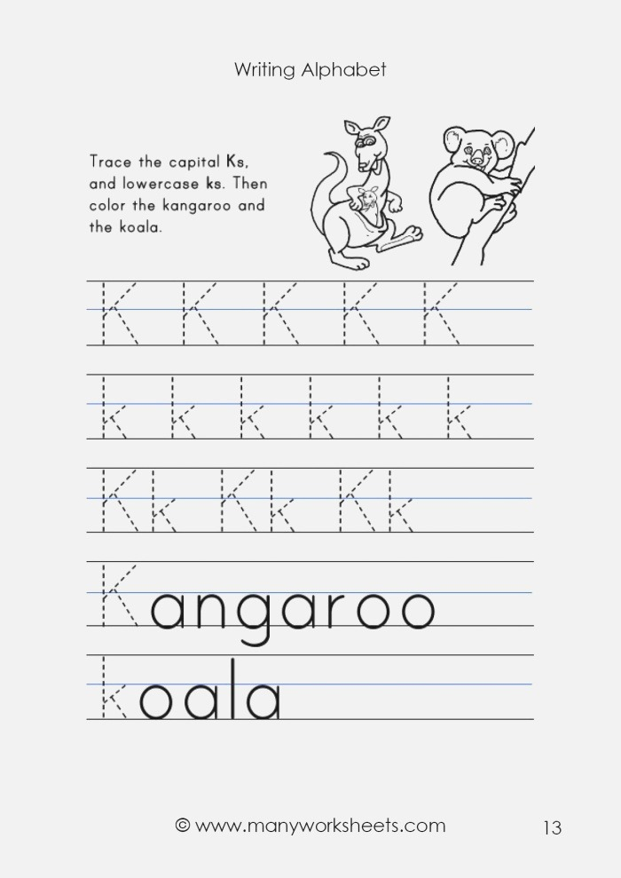Tracing Uppercase K and Lowercase K