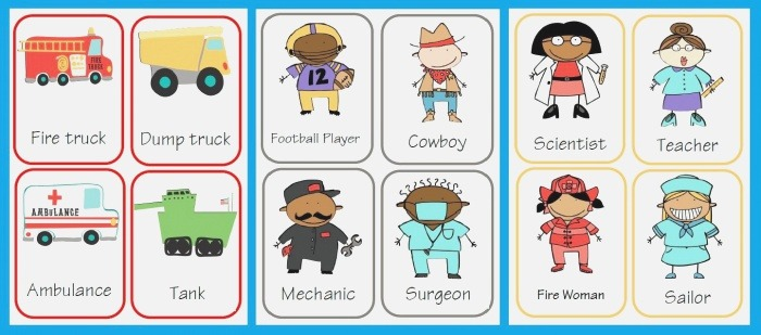 Transportation and Occupations Flash Cards