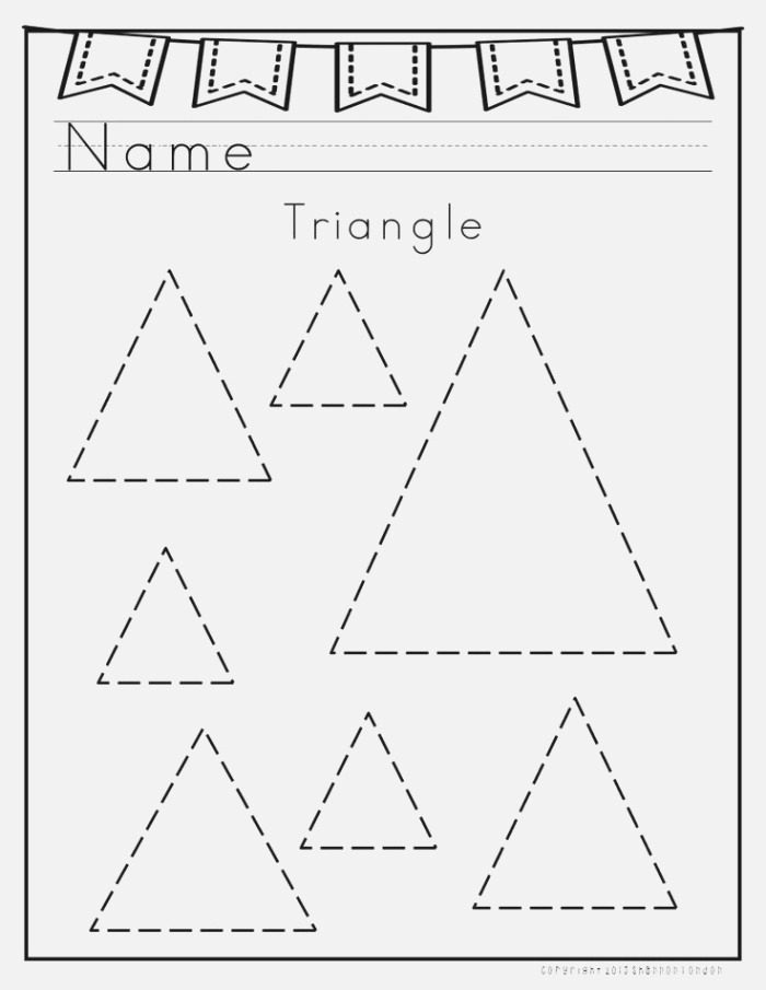 Triangle Tracing Worksheet for Preschool