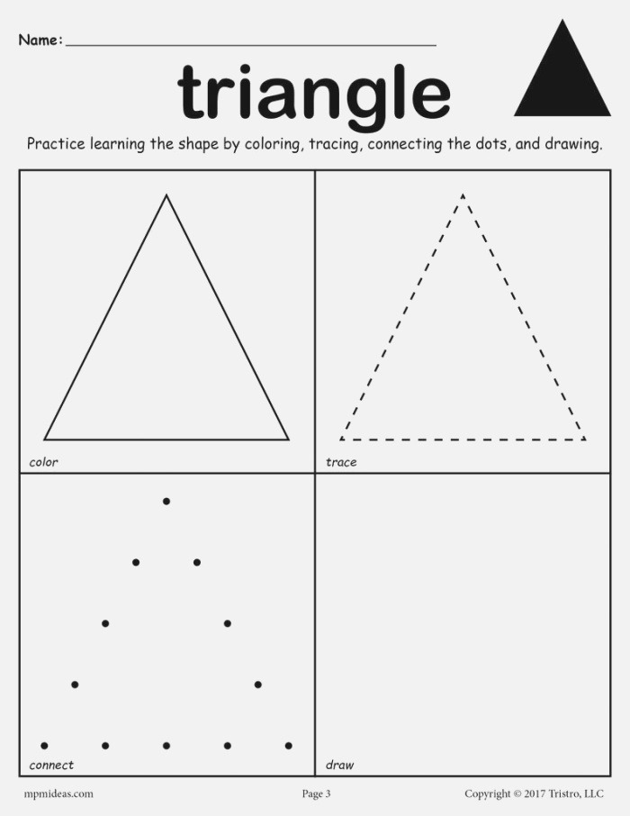 Triangle Worksheet Color Trace Connect & Draw – Supplyme