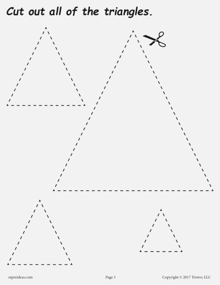 Triangles Cutting Worksheet Triangles Tracing & Coloring