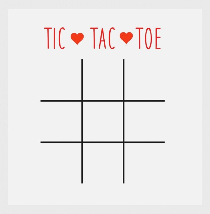Valentine Tic Tac toe Printable Wrap the Bottom and Lid