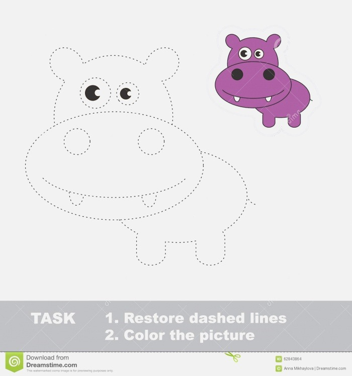 Vector Trace Game Hippo to Be Traced Stock Illustration