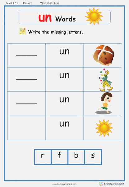 Word Family Un Word Grids English Phonics Worksheet