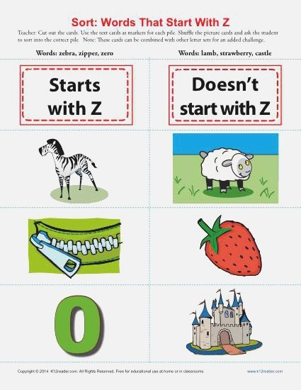 Words Starting with Letter Z