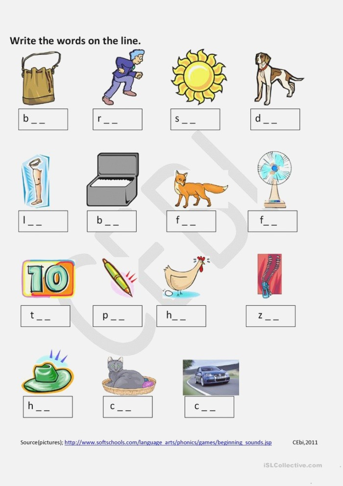 Words with Three Letters English Esl Worksheets for