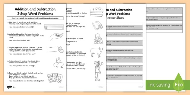 Year  Addition And Subtraction Word Problems Worksheet