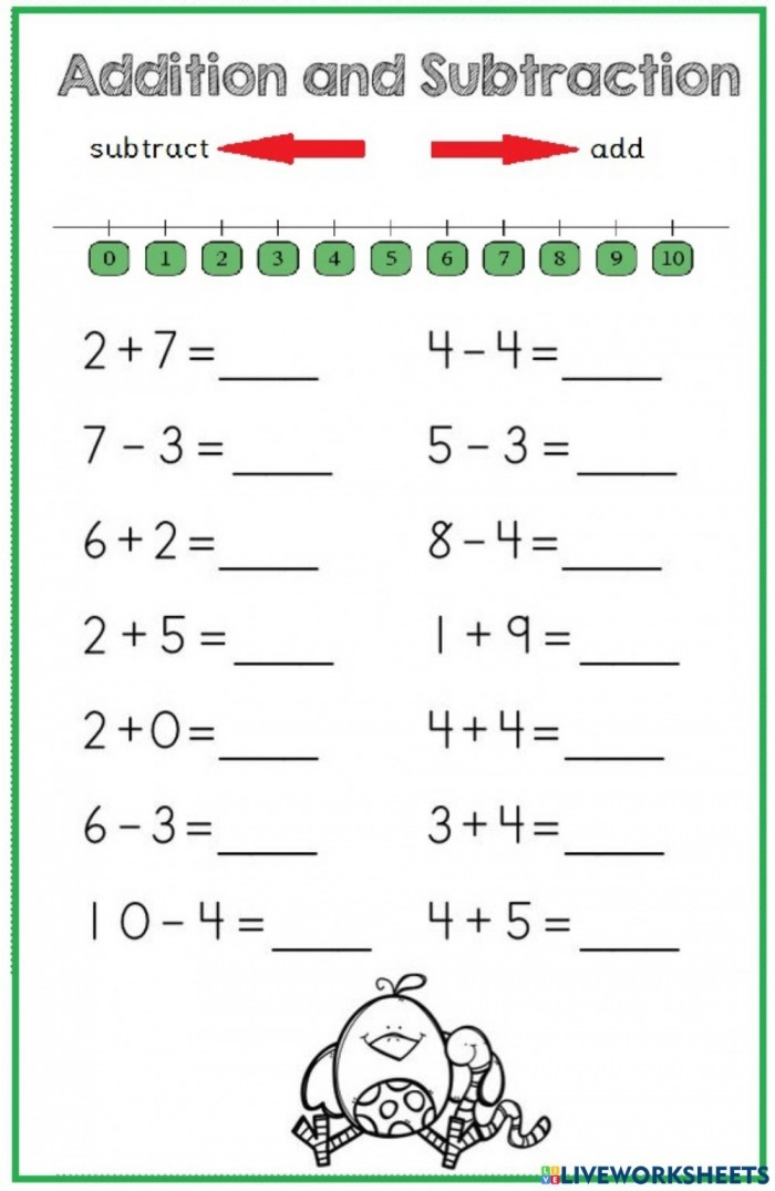 Add And Subtract On Number Line Worksheet