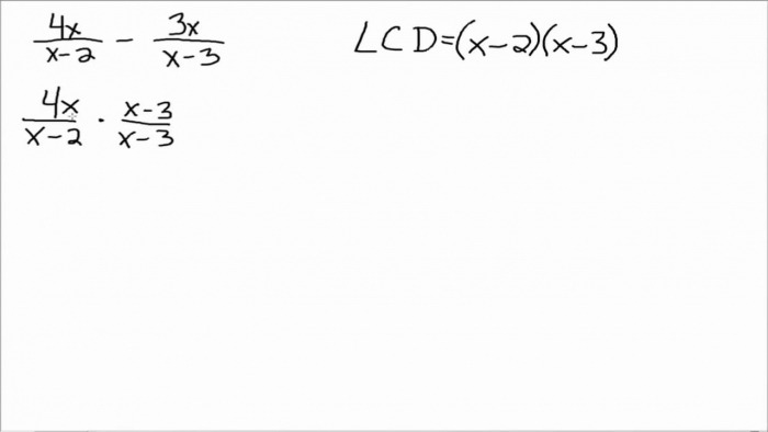 Add And Subtract Rational Expressions With Different Denominators