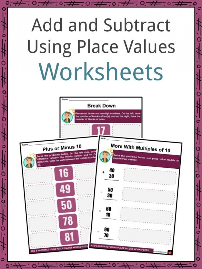 Add And Subtract Using Place Values Facts   Worksheets For Kids
