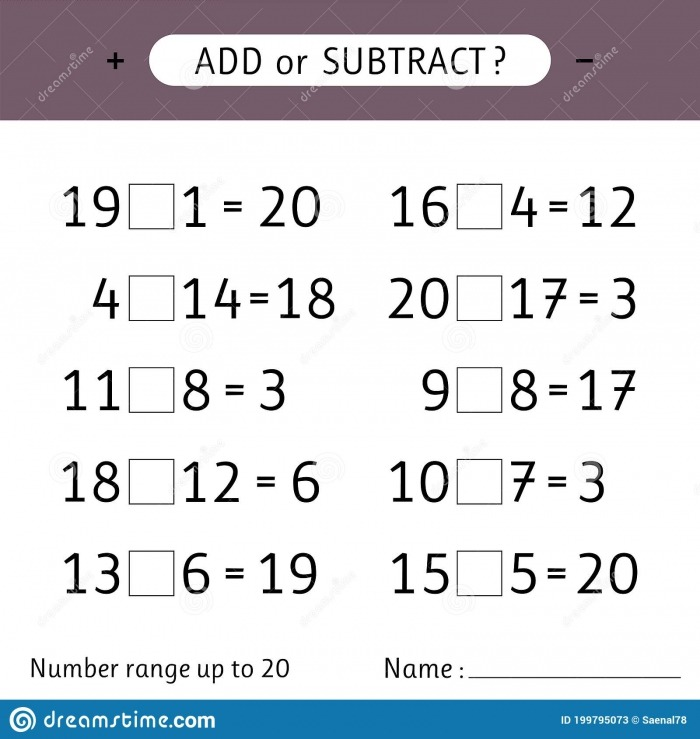 Add Or Subtract Number Range Up To  Addition And Subtraction