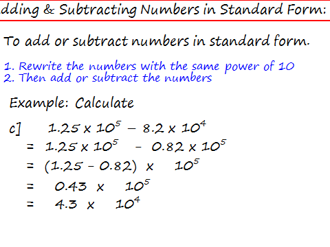 Adding   Subtracting Numbers In Standard Form