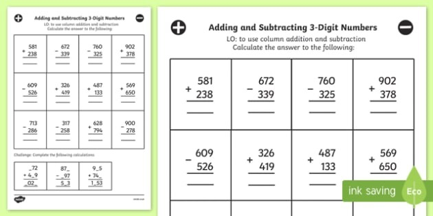 Addition And Subtraction Of 3 Digit Numbers