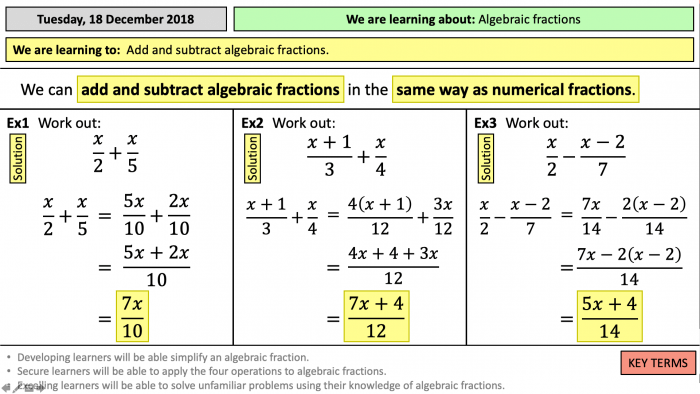 Addition And Subtraction Of Algebraic Fractions Worksheet