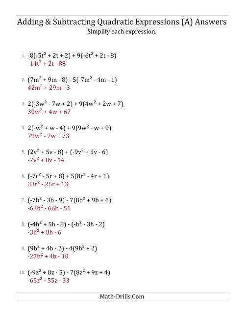 Adding And Subtracting And Simplifying Quadratic Expressions With