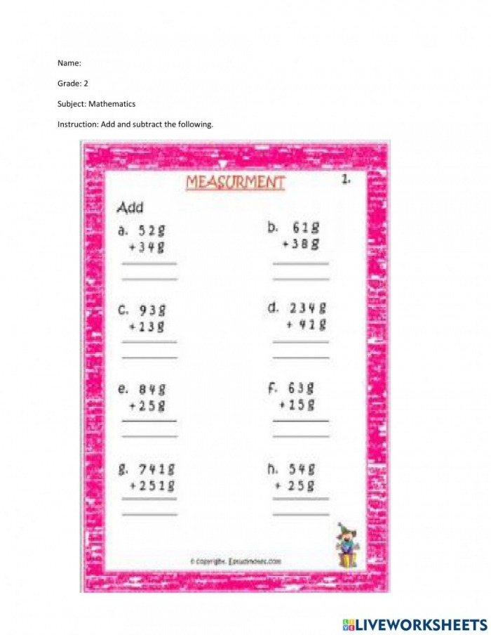 Adding And Subtracting Grams And Kilograms Worksheet