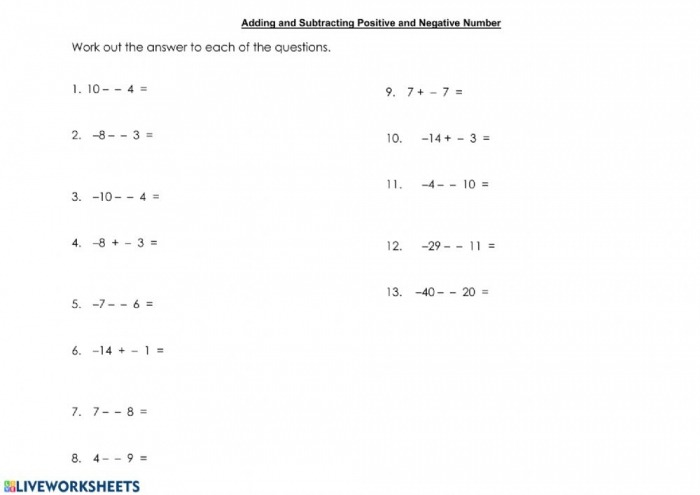 Adding And Subtracting Integers Worksheet