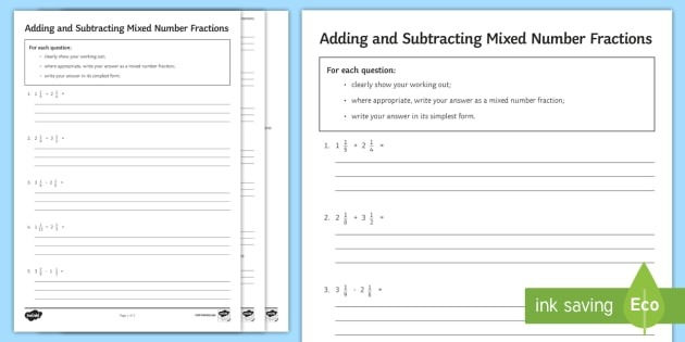 Adding And Subtracting Mixed Number Fractions