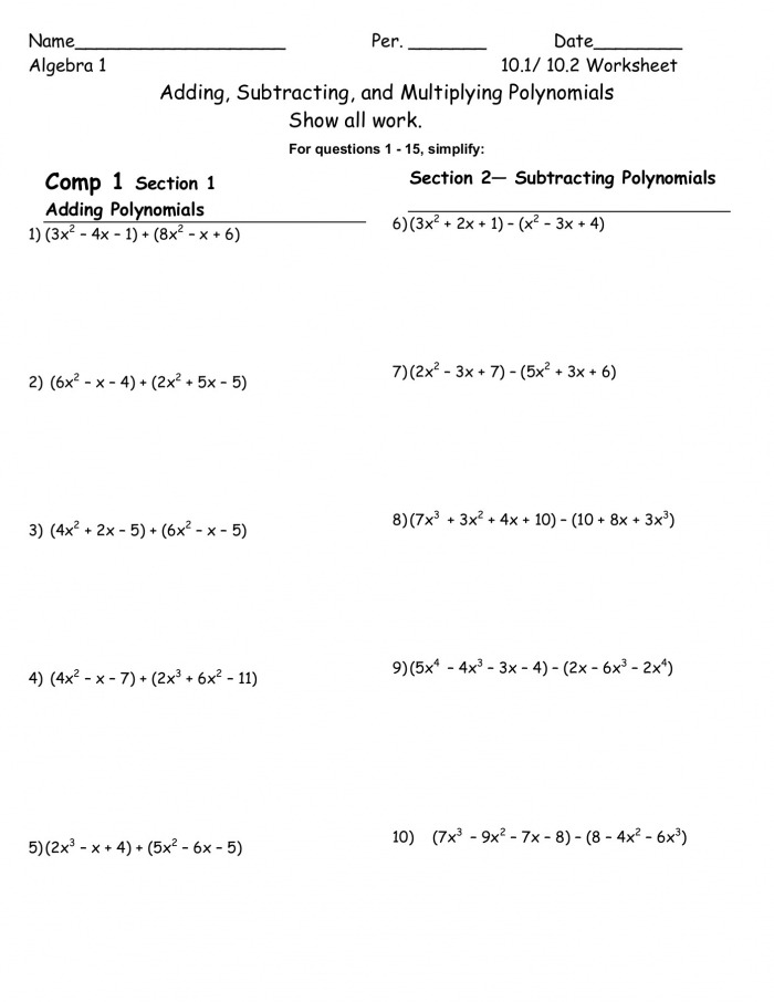 Adding And Subtracting Polynomials Pdf