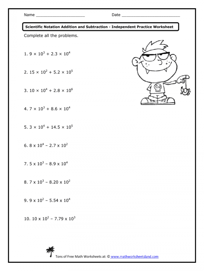 Adding And Subtracting Scientific Notation Worksheet With Answer