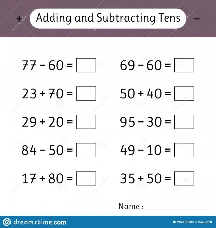 Adding And Subtracting Tens Mathematics Math Worksheets For Kids
