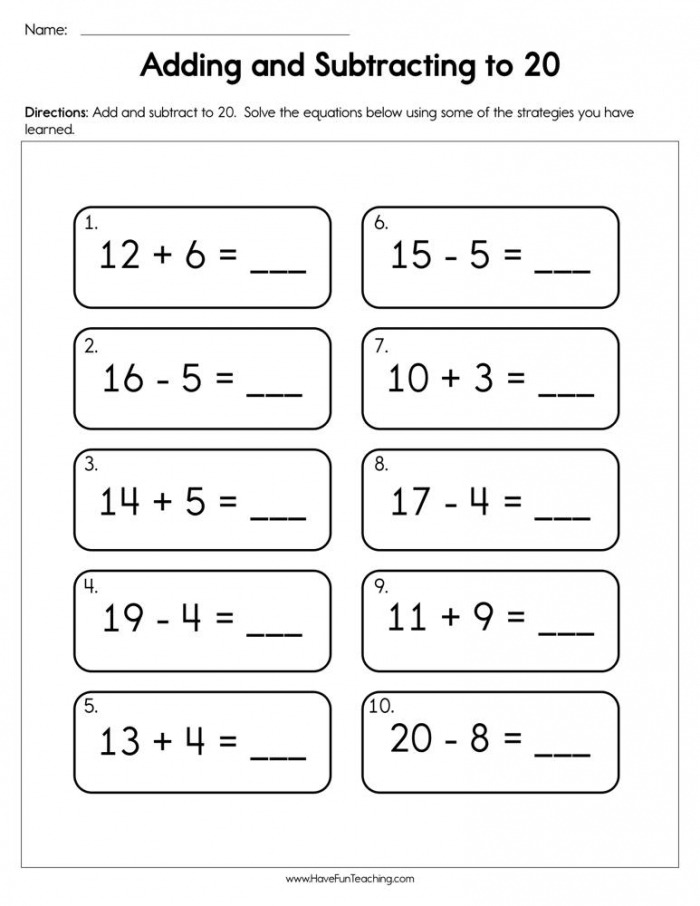 Adding And Subtracting To  Worksheet