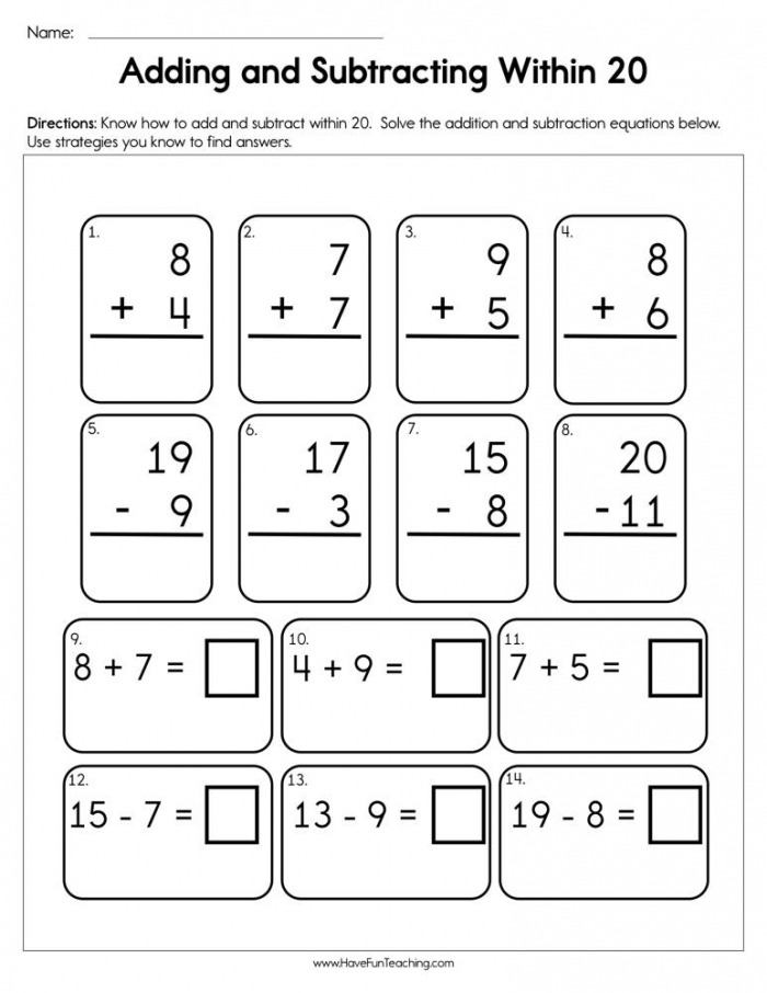 Adding And Subtracting Within  Worksheet