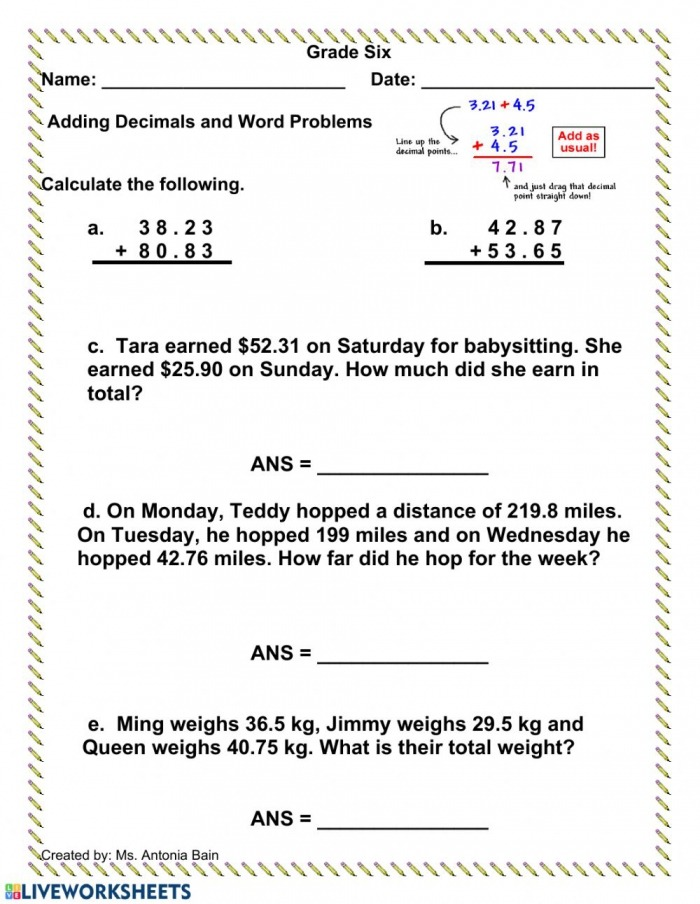 Adding And Subtracting Decimals Word Problems Worksheets