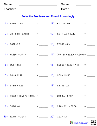 Adding And Subtracting Significant Figures Worksheet With Answers