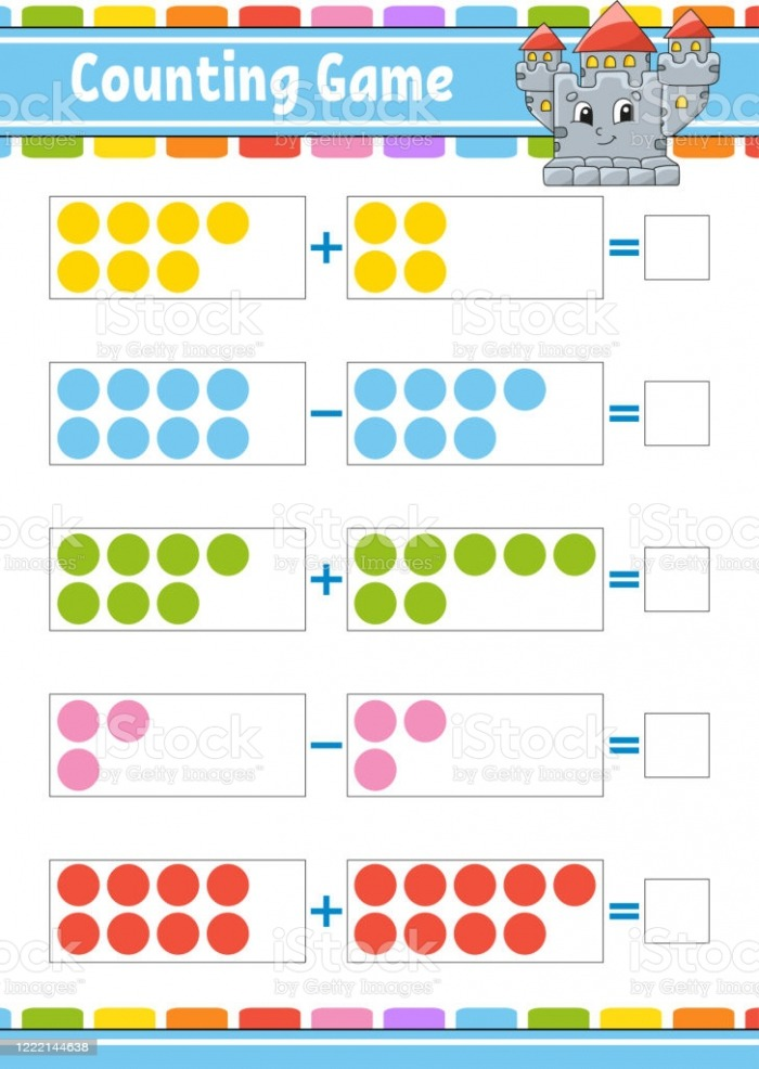 Addition And Subtraction Task For Kids Education Developing