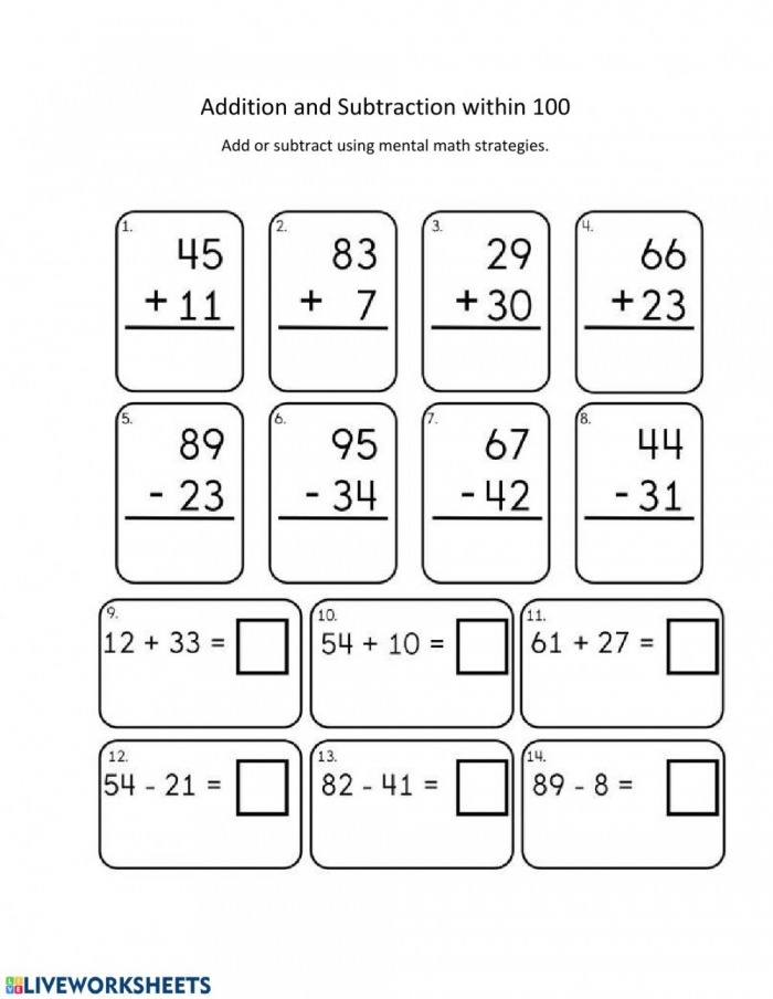 Addition And Subtraction Within  Worksheet