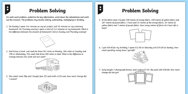 Addition And Subtraction Word Problem Worksheets