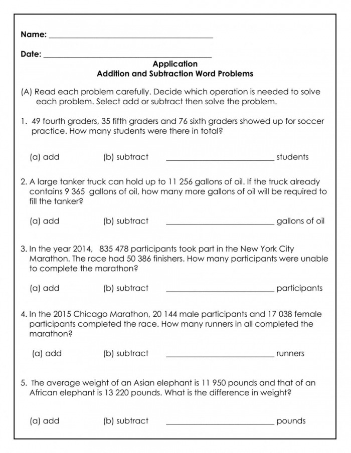 Addition And Subtraction Word Problems Exercise