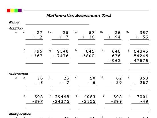 Addition Subtraction Multiplication Division Pdf
